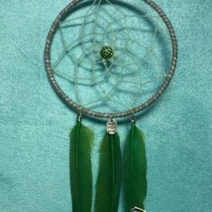 Attrape-rêve 10 cm plumes d'amazonie verte