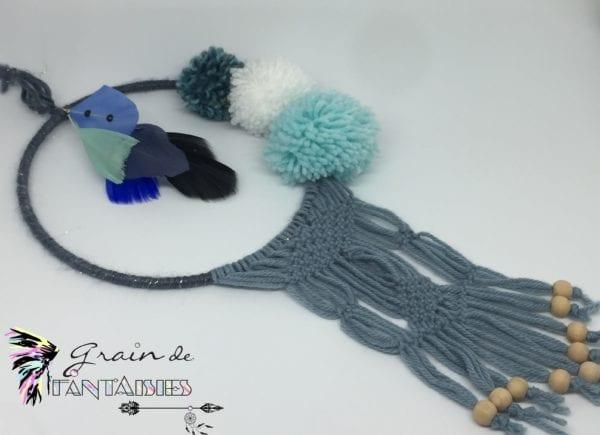 Attrape-rêve 15 cm macramé bleu et pompon