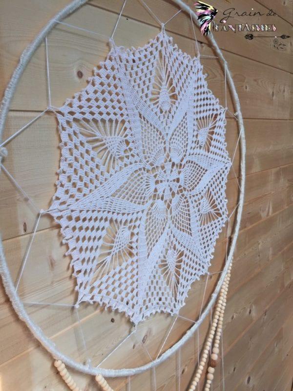 Attrape-rêve 50 cm crochet guirlandes de perles en bois