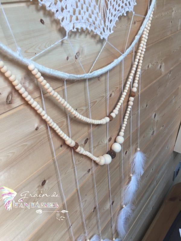 Attrape-rêve 50 cm crochet guirlandes de perles en bois2