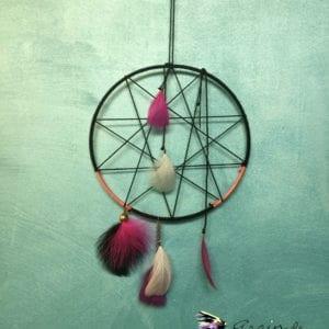 Attrape-rêve pentagramme 18 cm noir et rose
