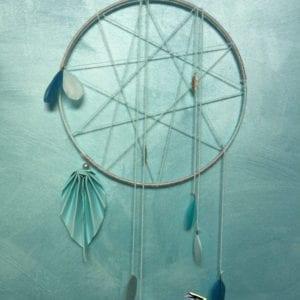 Attrape-rêve pentagramme 28 cm bleu