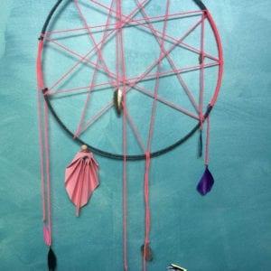 Attrape-rêve pentagramme 32 cm rose