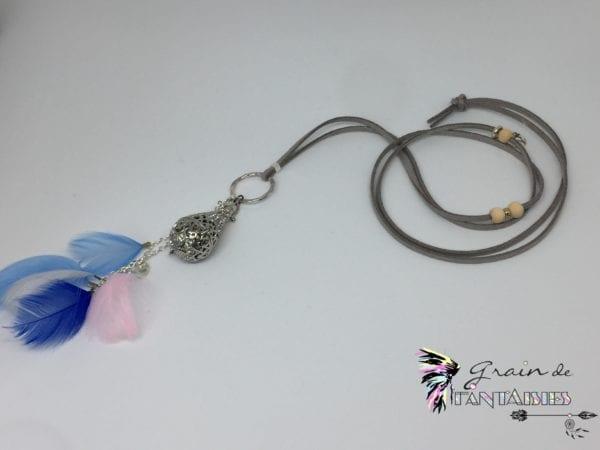 Bola de grossesse suédine grise et plumes bleue2