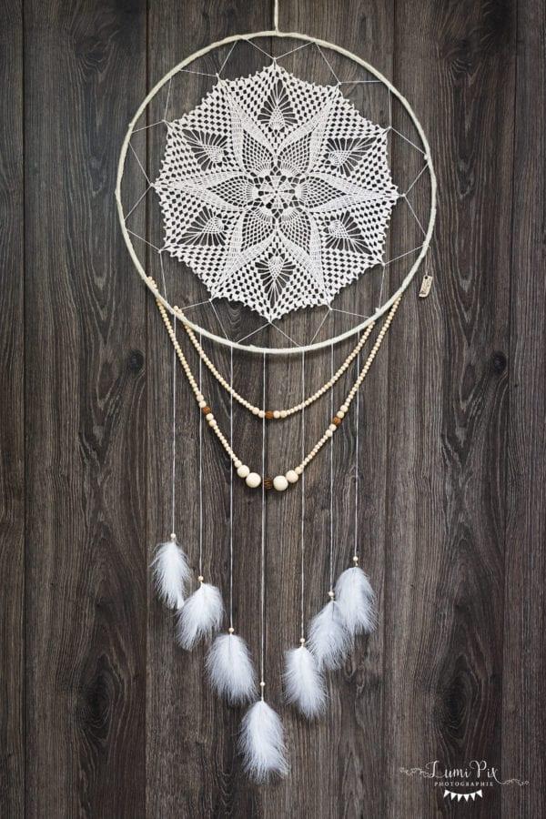 Attrape-rêve 50 cm crochet guirlandes de perles en bois3