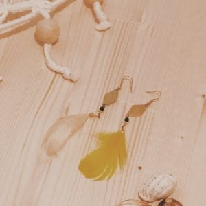 Boucles d'oreilles dorées connecteurs et plumes