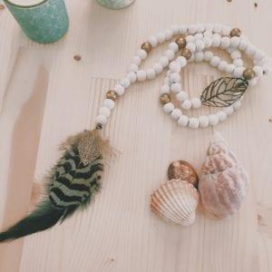 Collier chapelet bois perles en bois