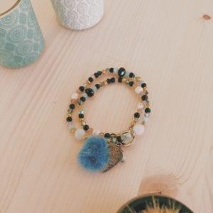 Bracelets collection boho perles facettes et pompons