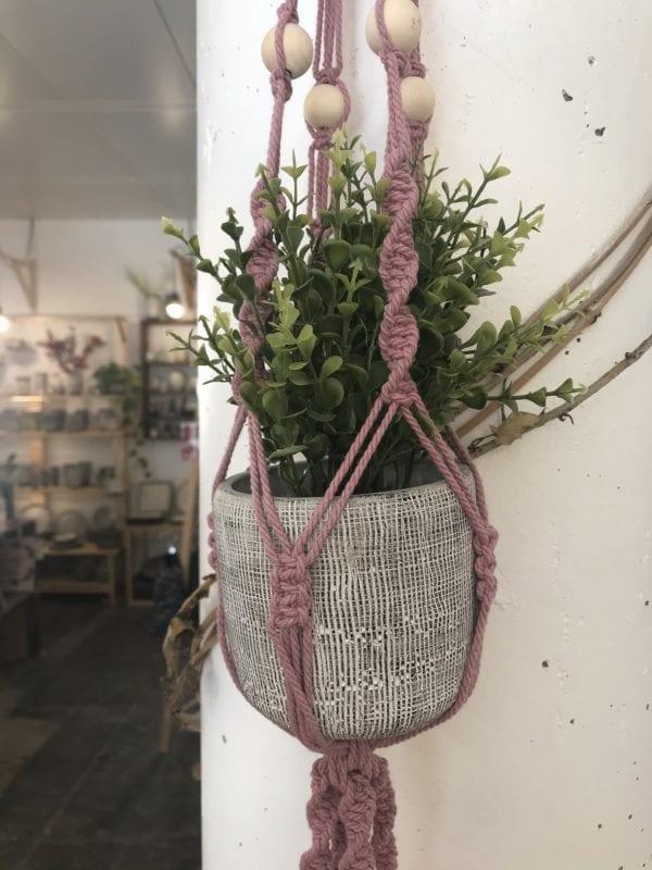 Double suspension pour plantes en macramé