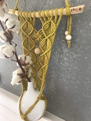 Suspension pour plantes bois flotté et macramé