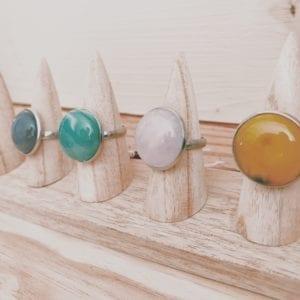 Bagues gemmes 20 mm en pierres