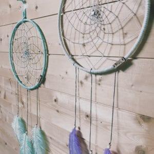 Attrape-rêve 25 cm et plumes d'autruche