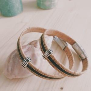 Bracelet homme en cuir liège bicolore