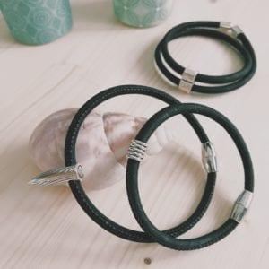 Bracelet homme aimanté en liège noir