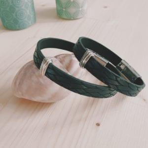 Bracelet homme en cuir bleu marine