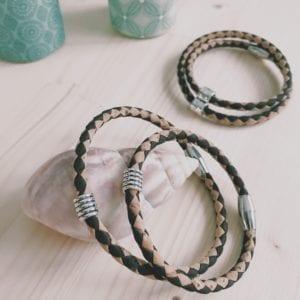 Bracelet homme aimanté en liège bicolore