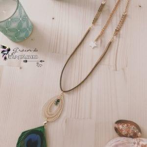 Collier plume de paon et pendentif doré