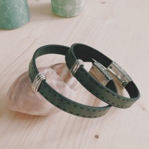 Bracelet homme en cuir gris mat
