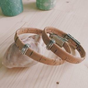 Bracelet homme en cuir liège naturel