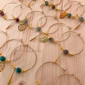 Collection créoles dorées perles gemmes