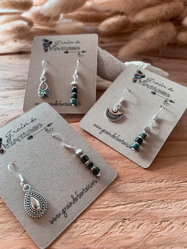 Collection dépareillée argentées et perles gemmes